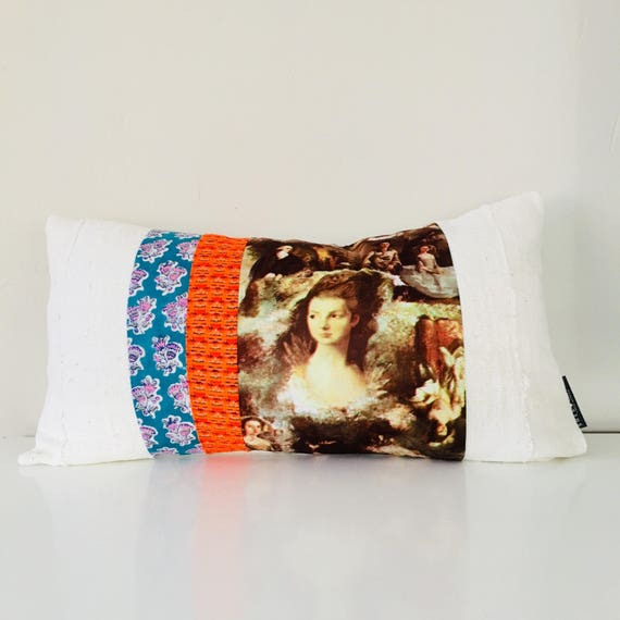 "Vintage Floral Striped Pillow Cover 14""x24"" Lumbar Cushion Bohemian French Baroque Lady Portrait Fabric Neon Orange White Mudcloth"