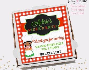 Pizza Box Label - Girl Pizza Party Birthday Favor Tag - Mini Pizza Box Sticker Party Favors - Pizzeria Gift Tags - Personalized Digital File