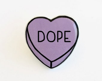 Dope - Anti Conversation Purple Heart Lapel Pin Brooch Badge