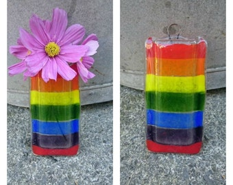 Fused Glass Hanging Rainbow Vase