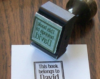 May Sale Personalized  Inchie This book belongs to  Rubber Stamp Bookplate Ex Libris A08