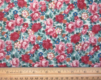 Flannel Mauve and Green Floral - Odd Size    F-O-3