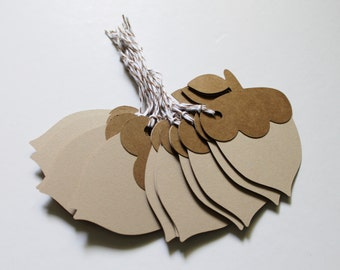 Acorn Tags - Set of 12 Kraft Brown and Tan Fall Themed Gift or Favor Tags - String Included