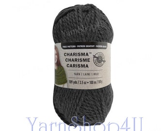 CHARCOAL Bulky Charisma Loops and Threads Yarn. Dark Grey Chunky Yarn. Soft Acrylic yarn Great for Hat, Scarf, Afghan, Loom. 3.5oz 109yd