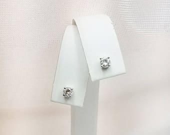 Genuine Diamond Stud Earrings in 14kt White Gold