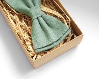 Sage green bow tie, linen bow tie, pocket square, mens bow tie, pre-ties bow tie, bow ties for men, bow tie men, Meadow bow tie