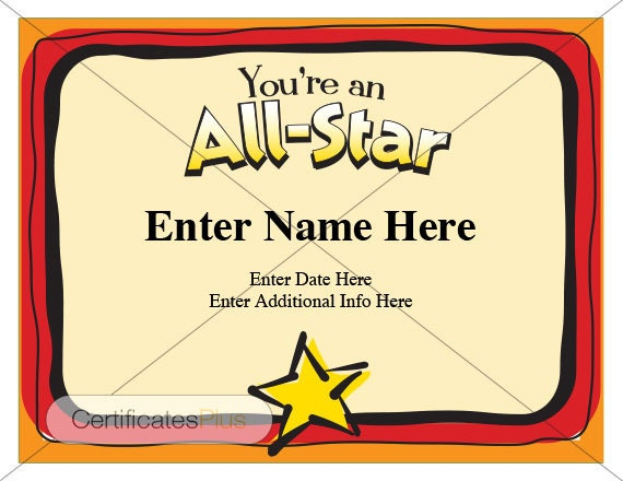 Kid certificate all star certificate award certificate yelopaper Choice Image