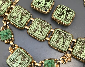 Vintage Egyptian revival Necklace .  Bracelet . Clip-on earring . Costume jewelry