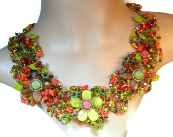 Floral Statement Necklace, Beaded Copper Collar, Blooms for All Seasons WJ123