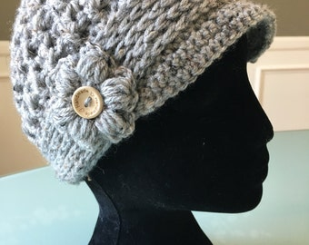 Paperboy hat   newsboy hat  crochet hat  flower hat   Brim Hat  handmade womens hat   hat