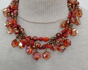 Coral & Natural Torsade Necklace