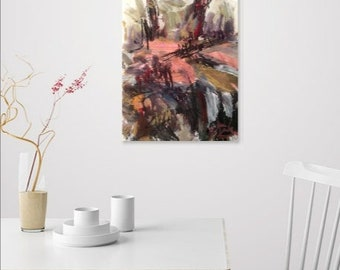 Woods painting,  nature art, Abstract expressionist  painting, abstract designs, home interior decor, painting, RussPotakArtist