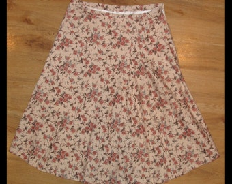 Vintage cream floral A line skirt, size medium