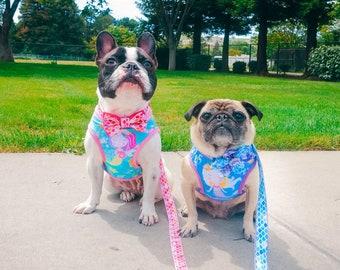 Mermaid Sea dog harness vest, Custom Girl dog harness, Ocean Summer Puppy dog harness, French bulldog, Spring medium small dog harness