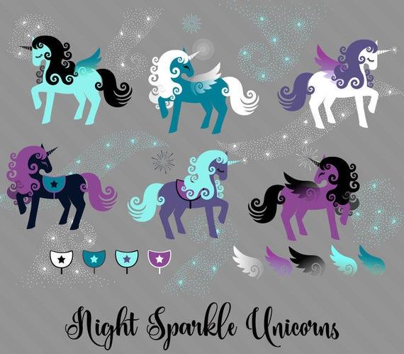 Night Sparkle Unicorns Clipart cute unicorn vectors unicorn