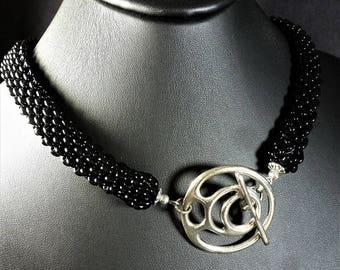 Stunning Lustrous Black Weaved Glass Plated Silver Necklace