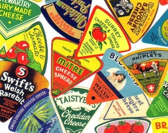 4pcs TINY CHEESE LABELS Vintage Paper Ephemera Assorted Pack