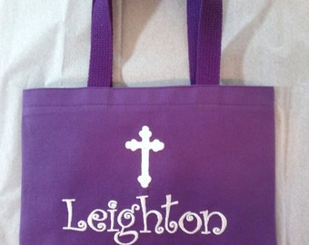 Bible Bag Personalized Small Tote Bag, Free Monogram, Color Choices