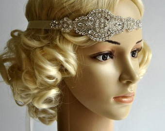 Crystal Rhinestone , flapper Gatsby Headband, Wedding Headband, Wedding Headpiece, Halo Bridal Headpiece, 1920s Flapper headband