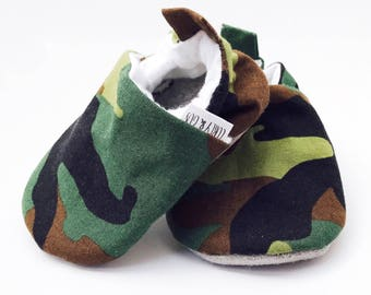 Camouflage Baby Shoes, Baby Boy  Shoes, Camo Baby Shoes, Soft Sole Baby Shoes, Baby Moccasins, Baby Booties, Baby Slippers, Crib Shoes