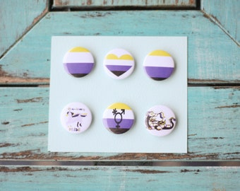 Non binary pride pins! A total of 6 pins, show ur pride today.