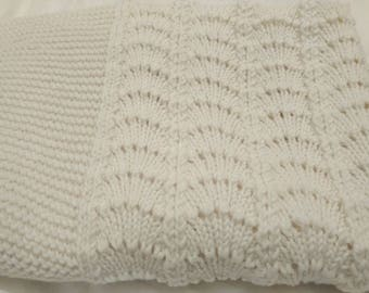 Ready to Ship Baby Blanket - Merino Hand Knitted Baby Blanket - Off White