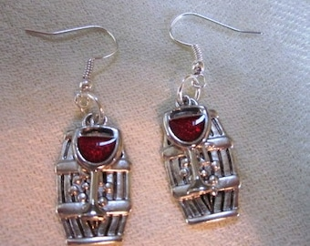 Wine and Wine Barrel Silver Earrings