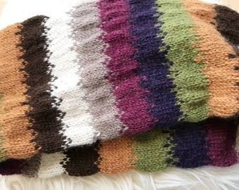 Tubular Alpaca Cowl Hand Knit Multicolor
