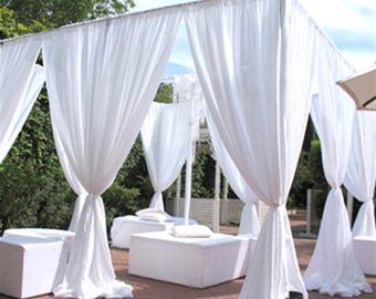 WHITE Chiffon Drapes Panels for Wedding Events & Decor- Backdrop Draping Curtains