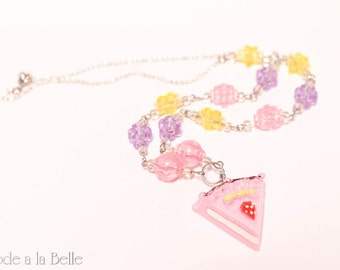 Sweet Strawberry Cake necklace - pink - silver tone