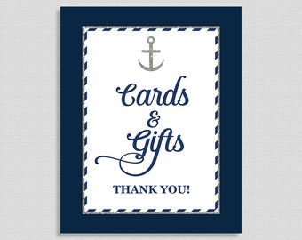 Cards & Gifts Shower Table Sign, Nautical Baby, Bridal, Anchor Shower Sign, Navy and Silver Glitter, 8x10, INSTANT PRINTABLE