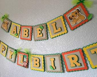The lion king or the lion guard personalized birthday banner in any color needed