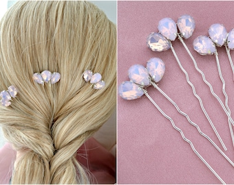 Wedding hair accessories Crystal Bridal Hair pins Pink Opal rhinestones Wedding jewelry set of 3
