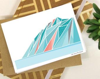 Geometric Mountain Greeting Card LAKE HAWEA New Zealand