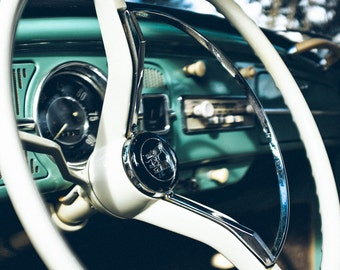 Classic Car Photography - Classic 1960s VW Bug, Volkswagen Beetle, Vintage Car, Retro, Teal, Classic VW Bug inside Photo 8x12 photograph