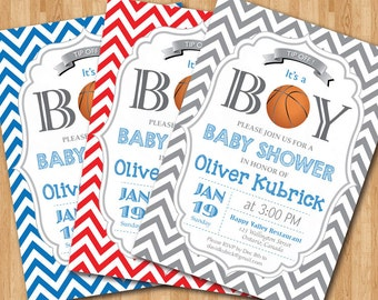Basketball Baby Shower Invitation. Baby Boy Chevron Invites. Baby Boy  Birthday Party Invitations. Any Custom Color. DIY Digital Printable.