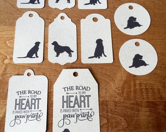 12 Golden Retriever Tags, Paper and Party Supplies, Tags