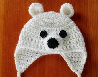 Polar Bear Hat, Bear Hat, Polar Bear, Baby Gift, Baby Shower Gift, Christmas Gift Idea, Newborn to Adult sizes available, Photo Prop