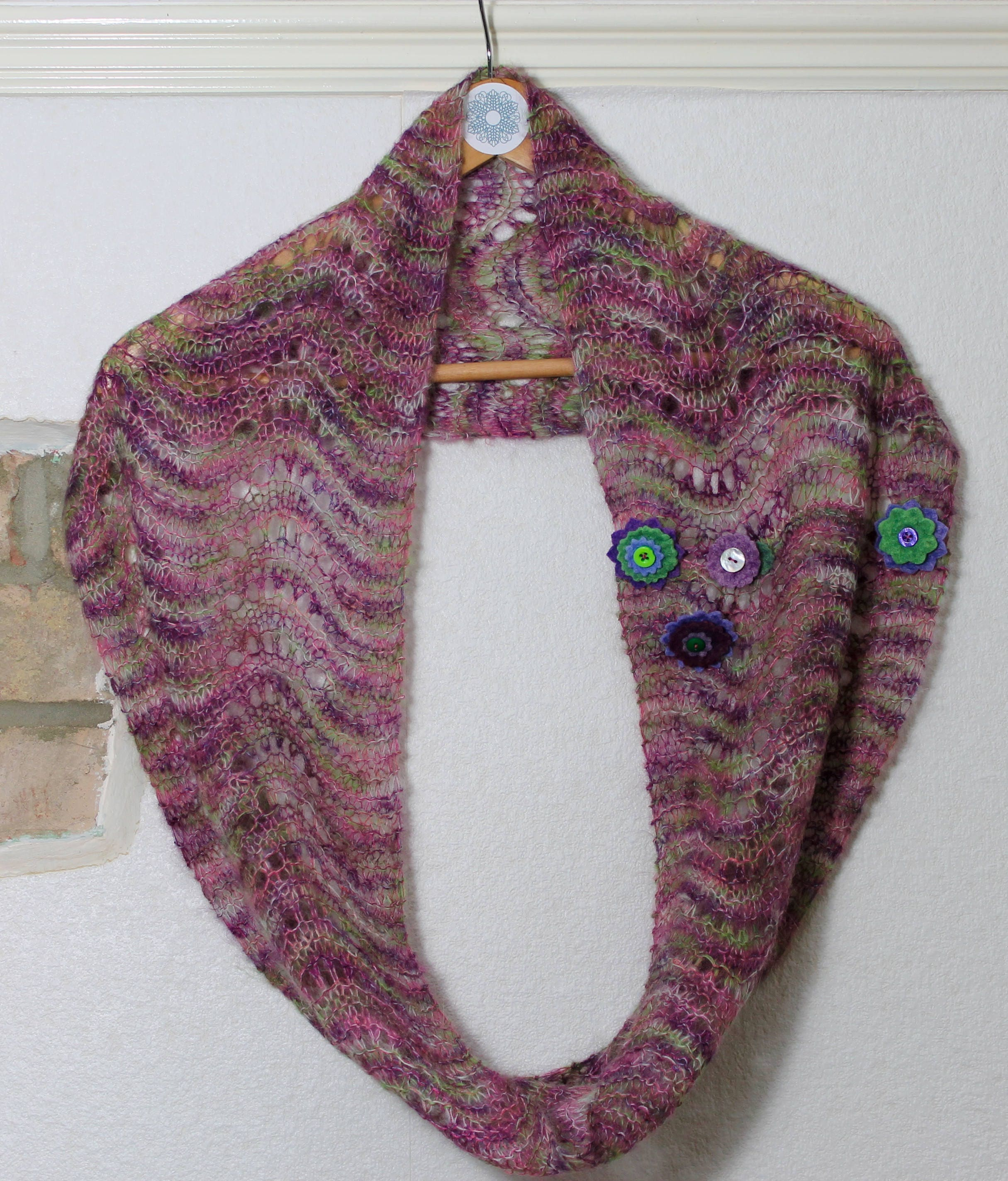Wave infinity scarf lace knitting pattern, PDF instant download