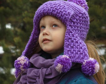 Crochet hat pattern, earflap hat pattern, crochet hat (Toddler, Child, and Adult sizes) PDF pattern hat, chunky hat pattern, hat pattern