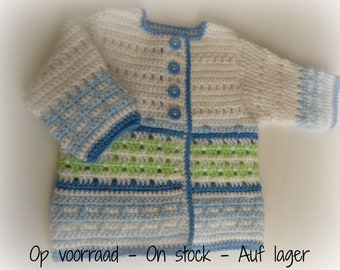 Crocheted Baby Cardigan Spring Blues with long sleeves