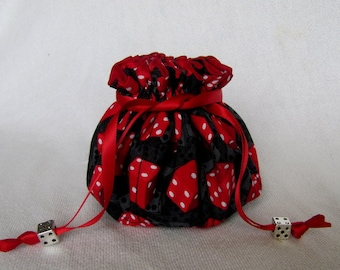 Drawstring Jewelry Pouch - Medium Size - Jewelry Travel Bag - PAIR OF DICE