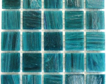 """20mm (3/4"""") Teal Marbled BEVELED Glass Mosaic Tiles//Mosaic Supplies//Crafts//Mosaic Pieces"""
