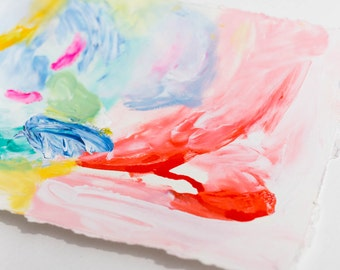 Original Small Abstract Drawing on Paper with Vivid Colors