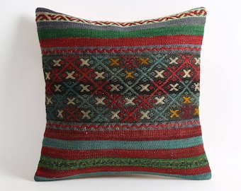 Kilim pillow cover, 16x16 tribal handmade decorative kilim pillow cover