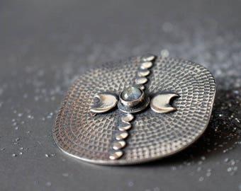 Sterling silver moon brooch - labradorite brooch - astronomy brooch - celestial - tribal - ethnic brooch - starry sky jewelry - EQUINOX