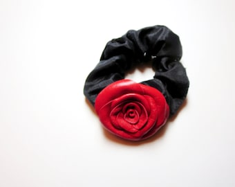 Flower Scrunchie - Red rose -Brown flower , purple flower -leather rose ,  Leather Rose Scrunchie