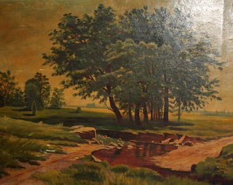 Antique oil painting landscape trees