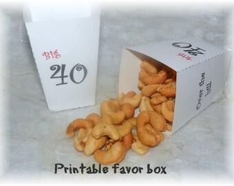Printable 40th  Birthday Party  Favor Box (DIY)