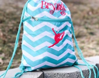 Teal Drawstring Backpack, Gymnastic Bag, Dance Bag, Personalized Drawstring Bag, Girls Gym Bag, Cinch Sack, Girls Dance Bag, Sports backpack